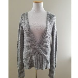 Lux Urban Outfitters Gray Open Weave Wrap Sweater